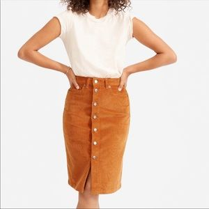 Everlane camel button front corduroy skirt size 29